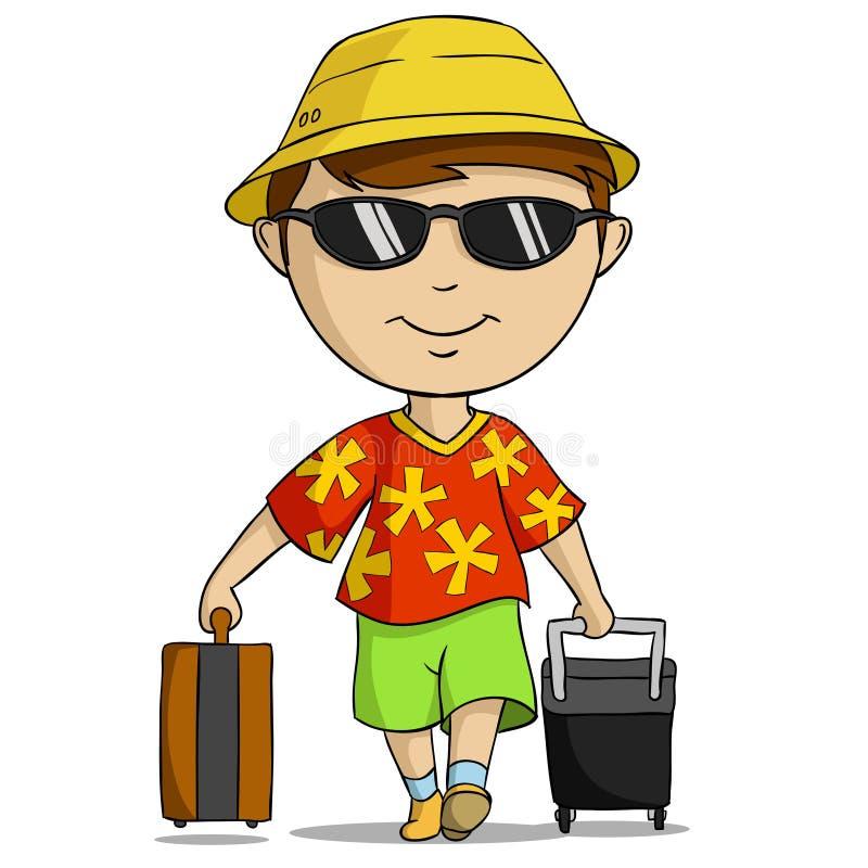 Homme d 39 quipement de vacances de dessin anim avec le sac - Dessin de vacances ...