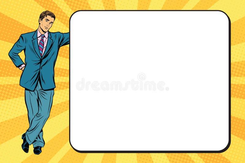 Homme d'affaires à côté d'une affiche illustration stock