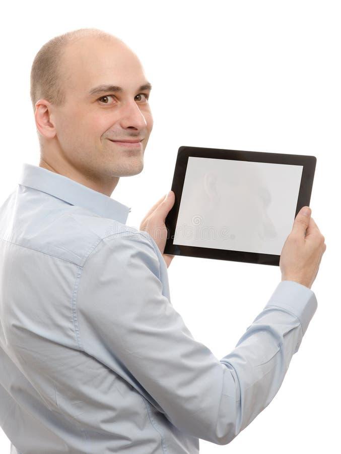 Homme d'affaires à l'aide d'un PC de tablette images libres de droits