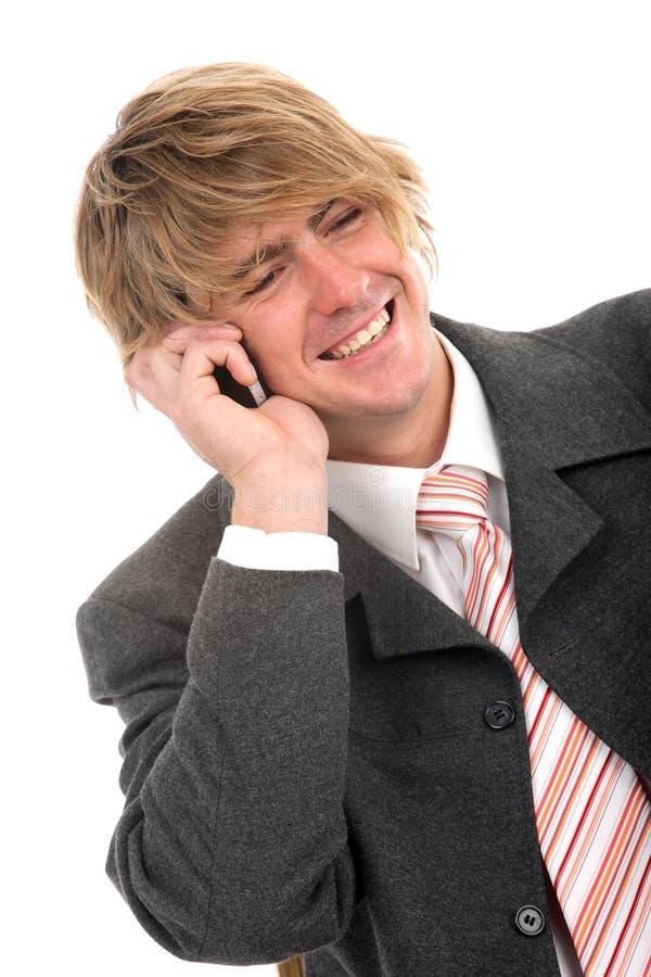 Homme d'affaires à son téléphone image libre de droits