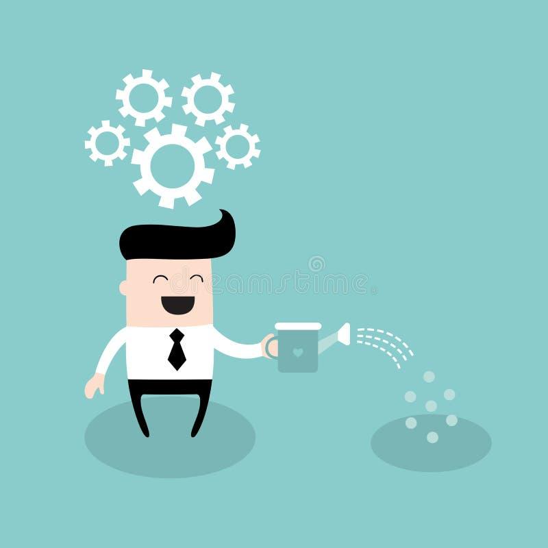 Homme d'affaires élevant une idée semant des graines dans le concept au sol de réussite commerciale de dur labeur illustration libre de droits