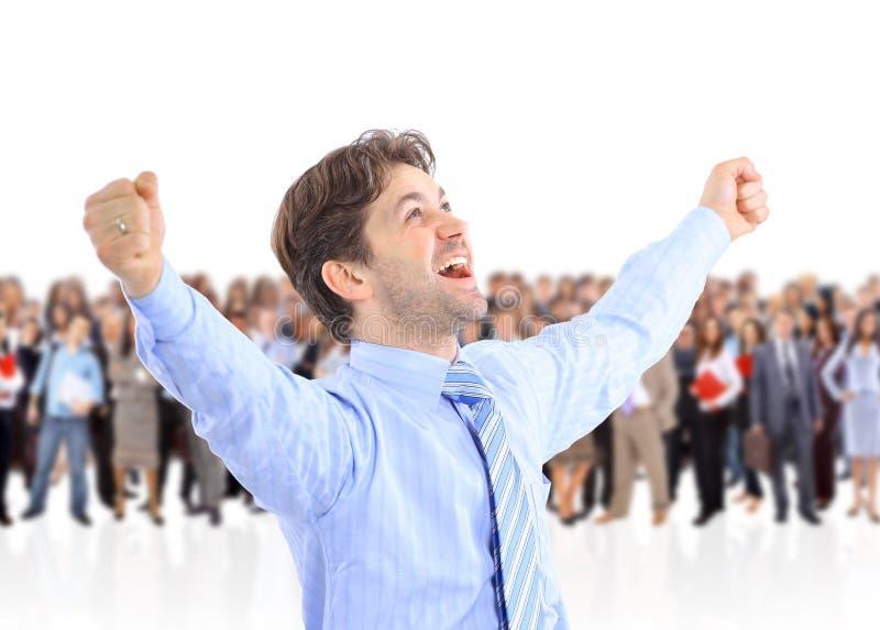 Homme d'affaires énergique heureux photo stock