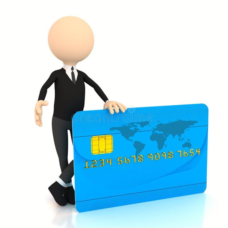 homme d'affaires 3d avec par la carte de crédit illustration stock