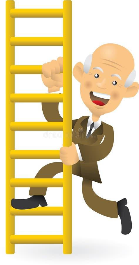 Homme d'affaires aîné montant l'échelle de corporation illustration libre de droits