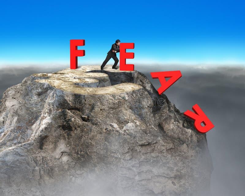 Homme d'affaires abaissant le mot rouge de crainte avec l'euro signe photo stock