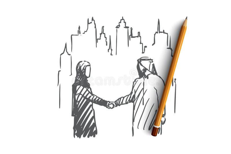 Homme d'affaires, accord, externalisation, musulman, concept de compagnon Vecteur d'isolement tiré par la main illustration de vecteur