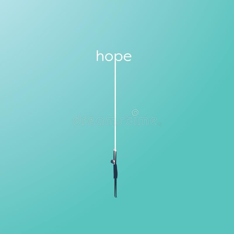 Homme d'affaires accrochant sur une corde d'un espoir de mot Symbole de l'aide, aide dans des situations difficiles illustration libre de droits
