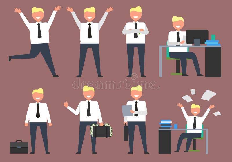 Homme d'affaires actif à l'illustration de vecteur de travail illustration stock