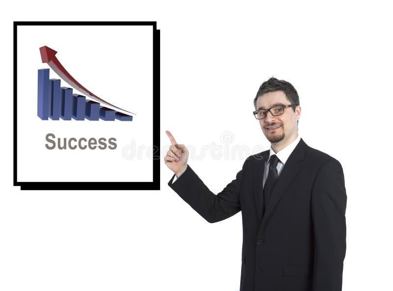 Homme d'affaires affichant le dessin de réussite image libre de droits