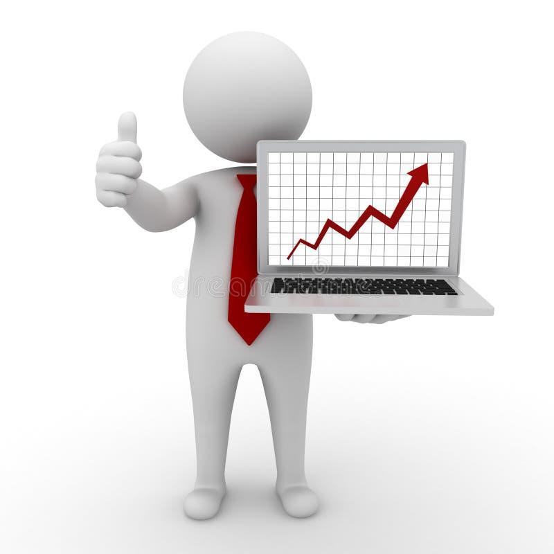 Homme d'affaires affichant le graphique d'accroissement de l'ordinateur portatif illustration libre de droits