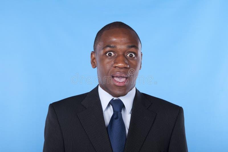 Homme d'affaires africain étonné image libre de droits