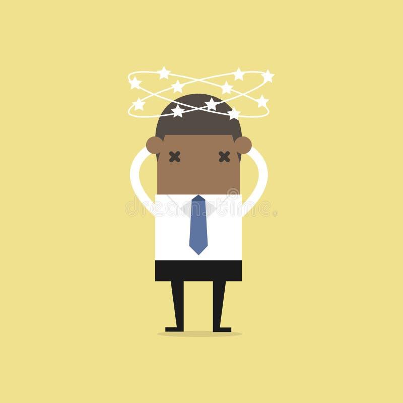 Homme d'affaires africain avec des étoiles tournant autour sa tête illustration de vecteur