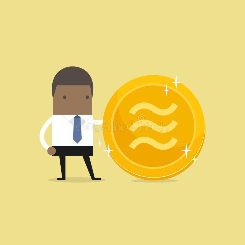 Homme d'affaires africain avec la pièce de monnaie d'or de Balance Argent électronique virtuel de crypto devise illustration stock