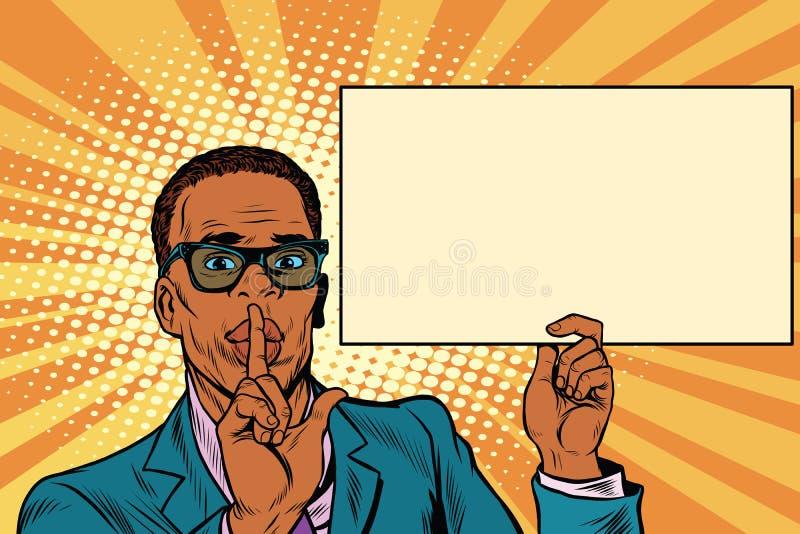 Homme d'affaires africain demandant le silence, affiche de panneau d'affichage illustration de vecteur