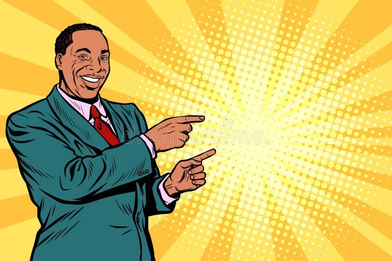 Homme d'affaires africain dirigeant le doigt au côté illustration de vecteur