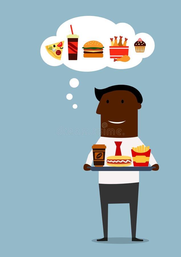 Homme d'affaires américain avec le déjeuner d'aliments de préparation rapide illustration libre de droits