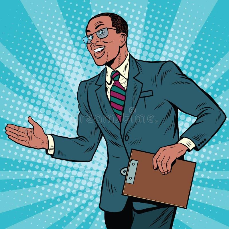 Homme d'affaires amical d'Afro-américain illustration de vecteur