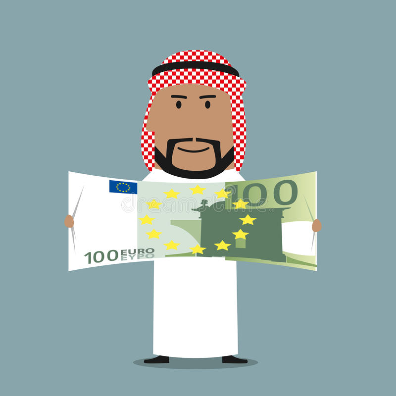 Homme d'affaires Arabe avec cent factures d'euro illustration libre de droits