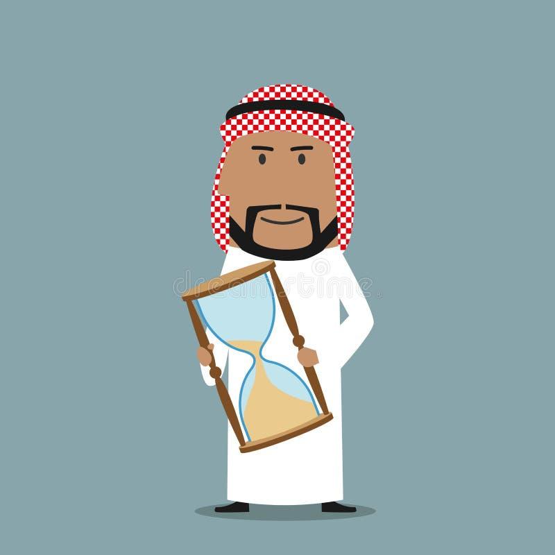 Homme d'affaires Arabe avec de temps le sablier  illustration stock