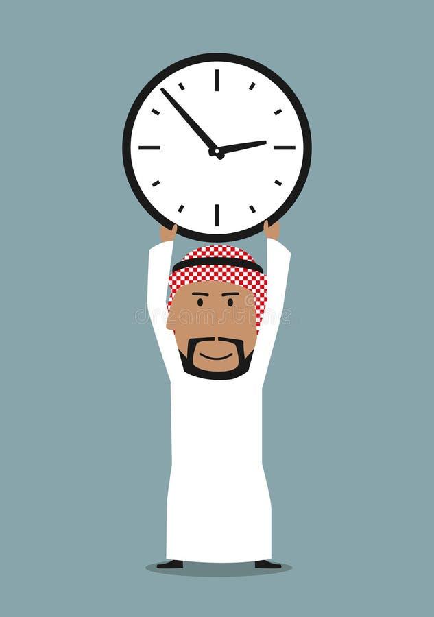 Homme d'affaires Arabe avec l'horloge de bureau au-dessus de la tête illustration libre de droits