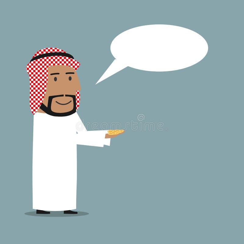Homme d'affaires Arabe avec la bulle d'argent et de parole illustration de vecteur