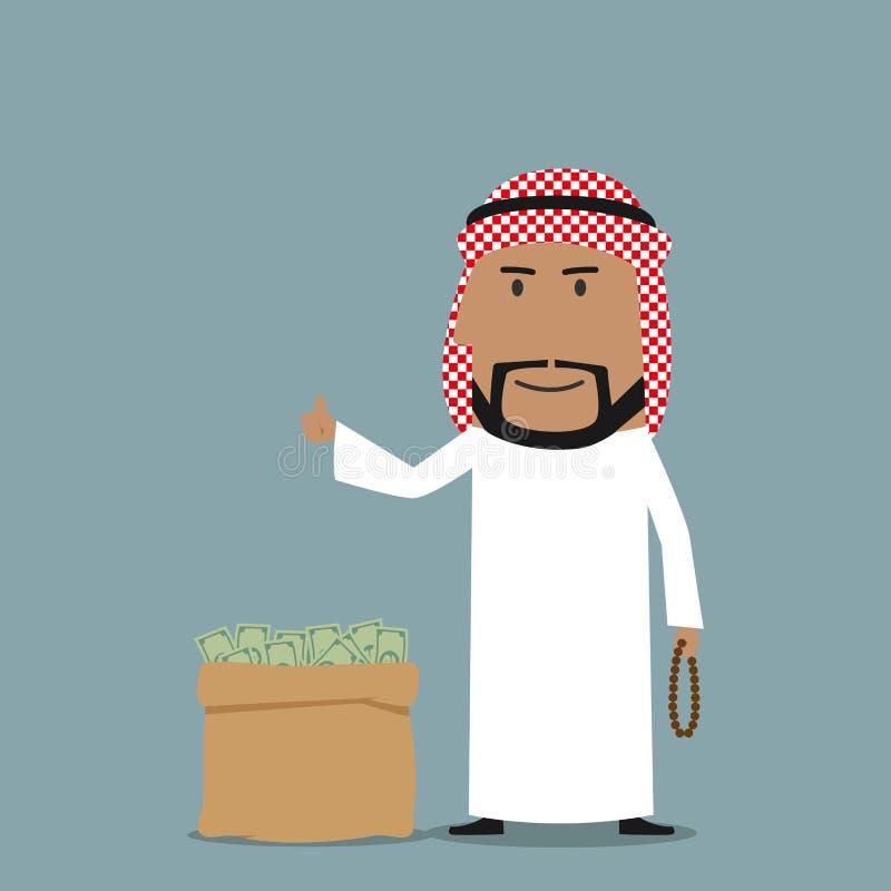 Homme d'affaires Arabe avec le plein sac de l'argent illustration de vecteur