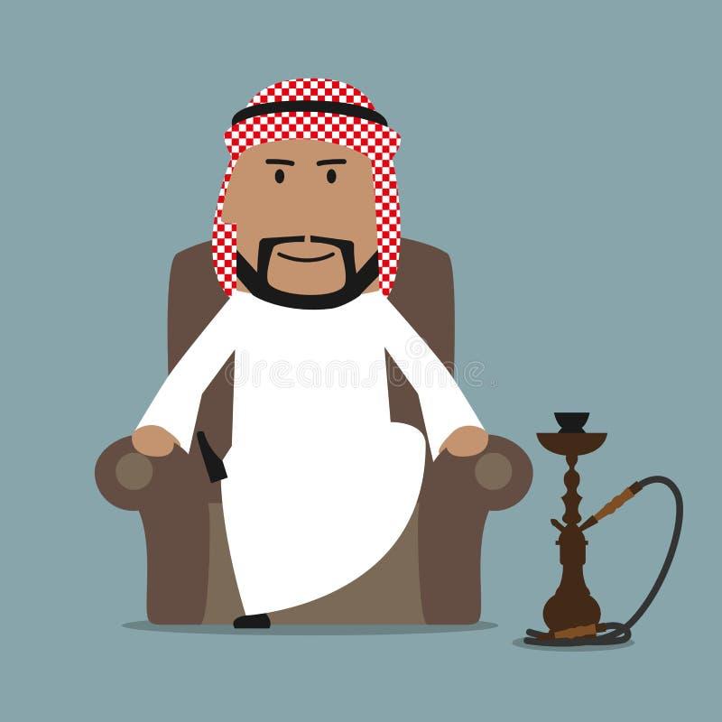 Homme d'affaires Arabe détendant avec le narguilé illustration stock