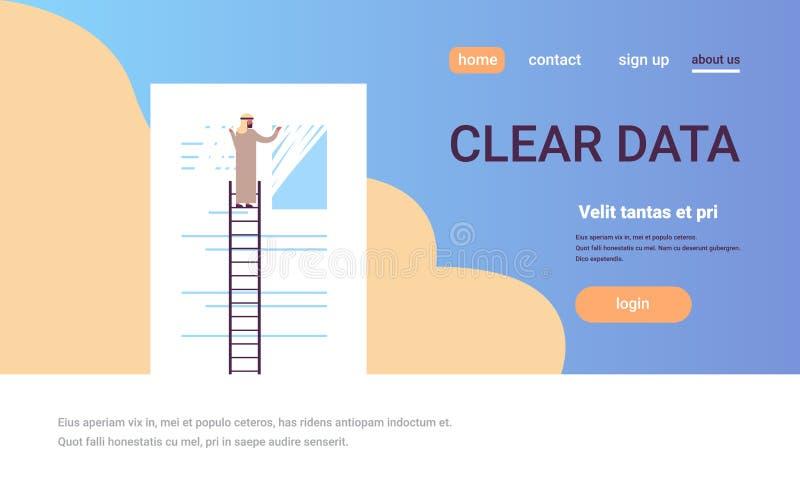 Homme d'affaires arabe effaçant l'homme clair de concept de données de l'information sur la copie plate de personnage de dessin a illustration stock