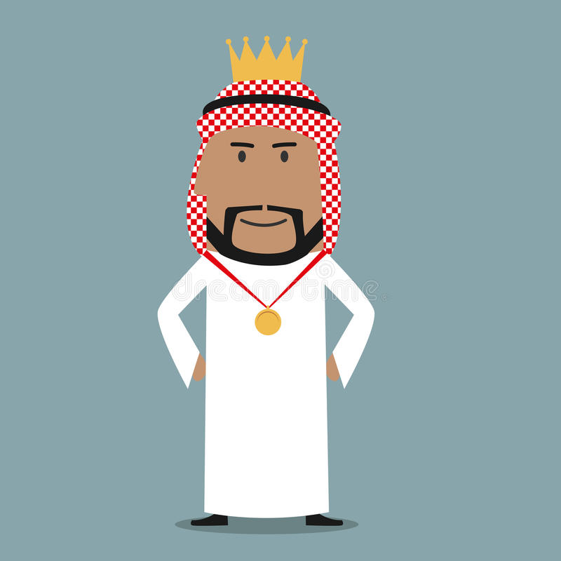 Homme d'affaires Arabe fier avec la couronne d'or illustration de vecteur