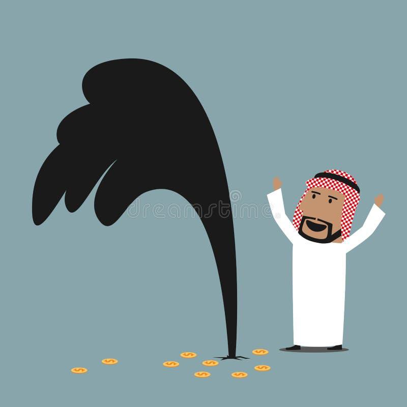 Homme d'affaires Arabe riche avec le puits de pétrole d'huile illustration libre de droits