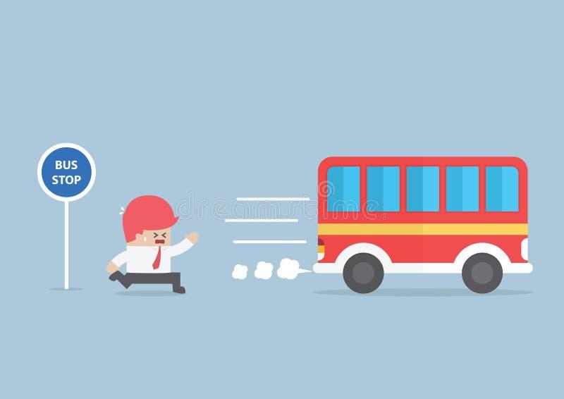 Homme d'affaires arrivant trop tard à l'arrêt d'autobus illustration de vecteur