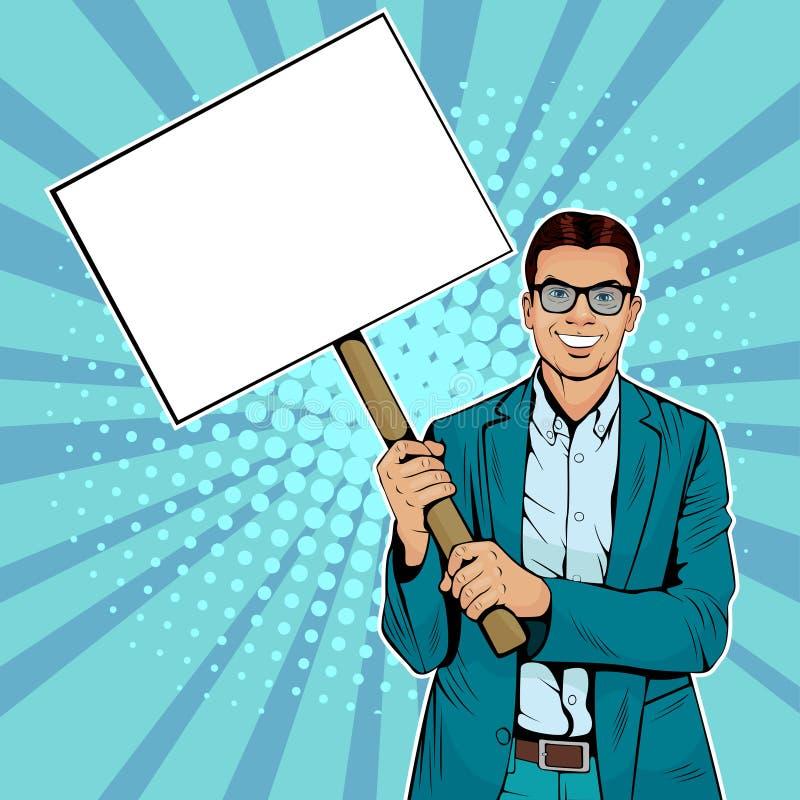 Homme d'affaires d'art de bruit avec la bannière vide sur le bâton en bois illustration stock