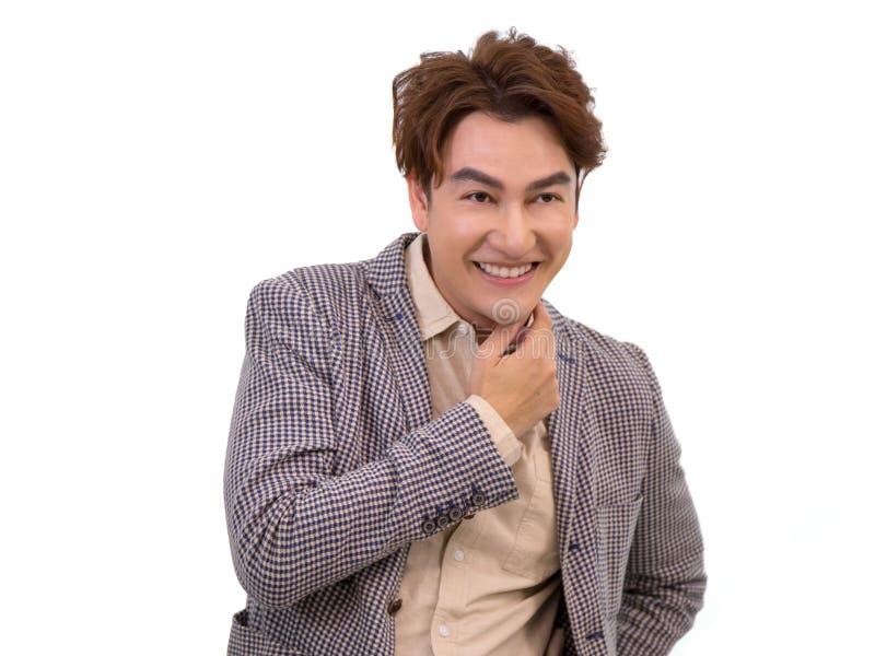 Homme d'affaires asiatique souriant sur le fond blanc photo libre de droits