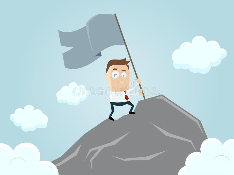 Homme d'affaires atteignant le dessus de la montagne illustration libre de droits