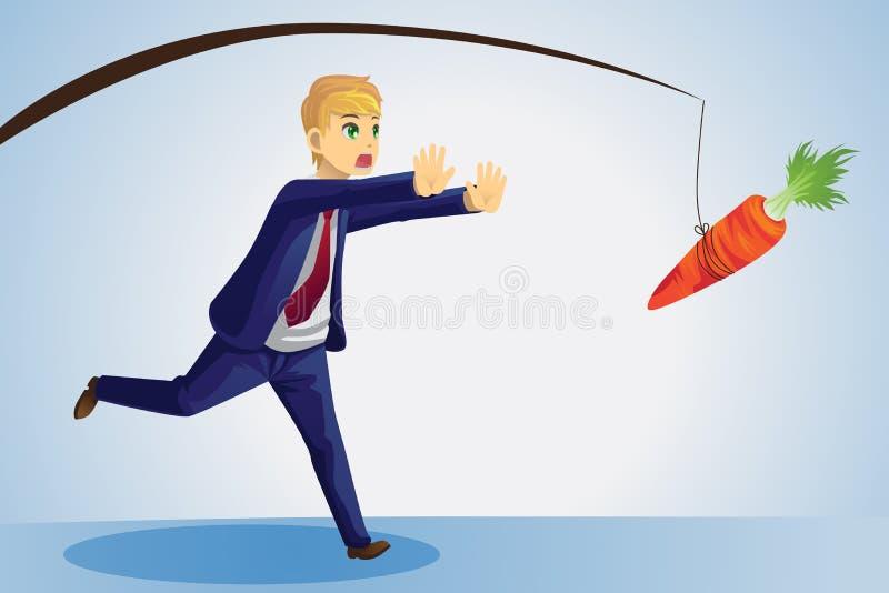 Homme d'affaires atteignant pour le raccord en caoutchouc illustration de vecteur