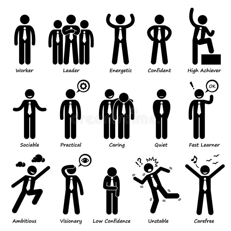 Homme d'affaires Attitude Personalities Characters Cliparts illustration stock