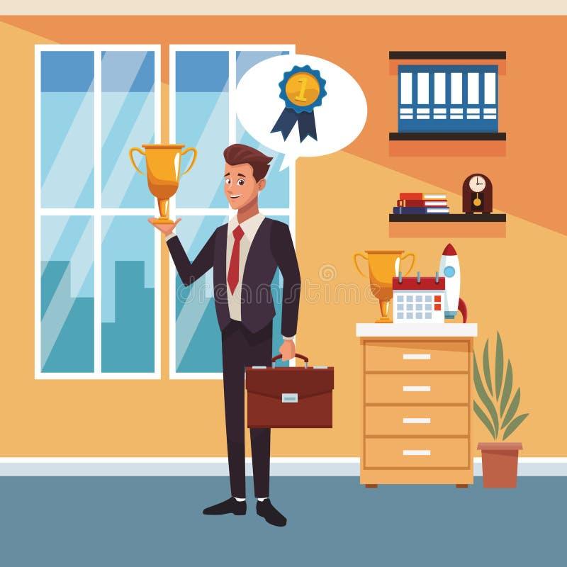 Homme d'affaires au bureau illustration libre de droits