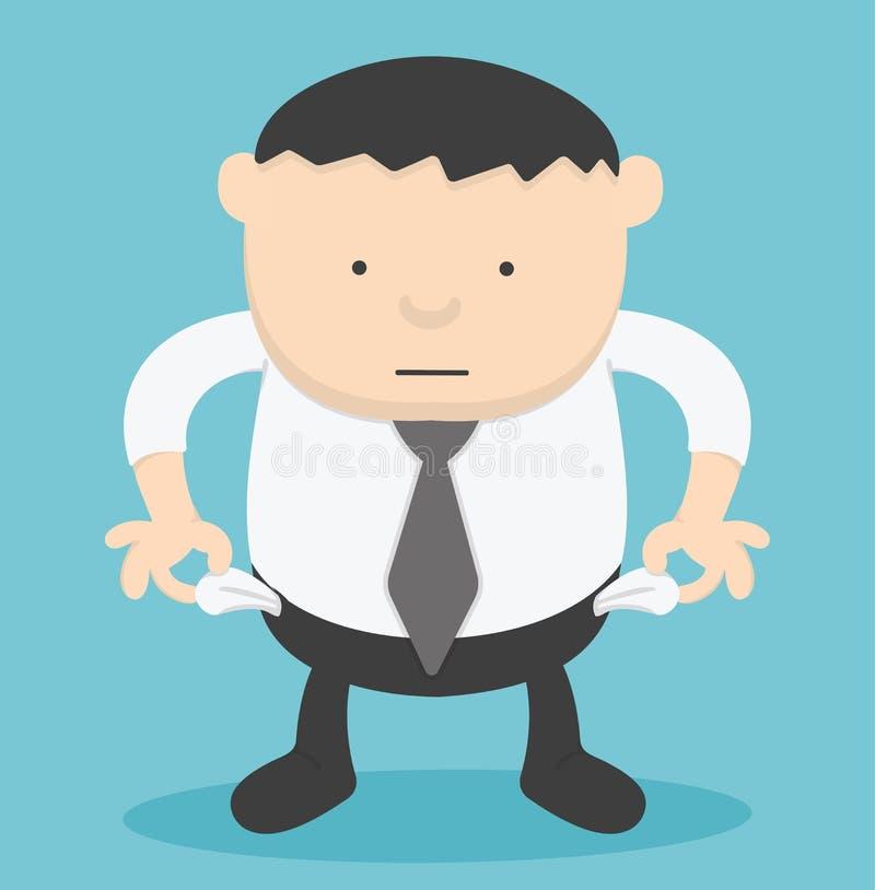 Homme d'affaires aucun argent, illustration de vecteur, homme d'affaires de poids excessif illustration stock