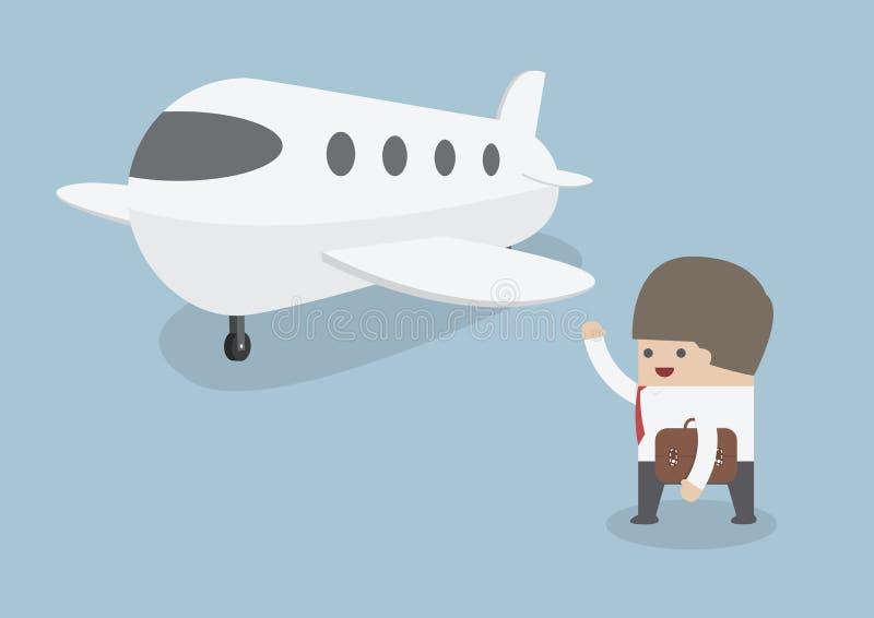 Homme d'affaires avec des bagages marchant vers le jet privé illustration libre de droits