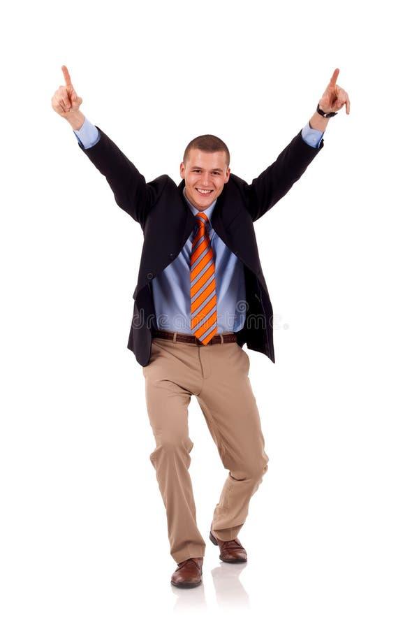 Homme d'affaires avec des bras vers le haut photos stock