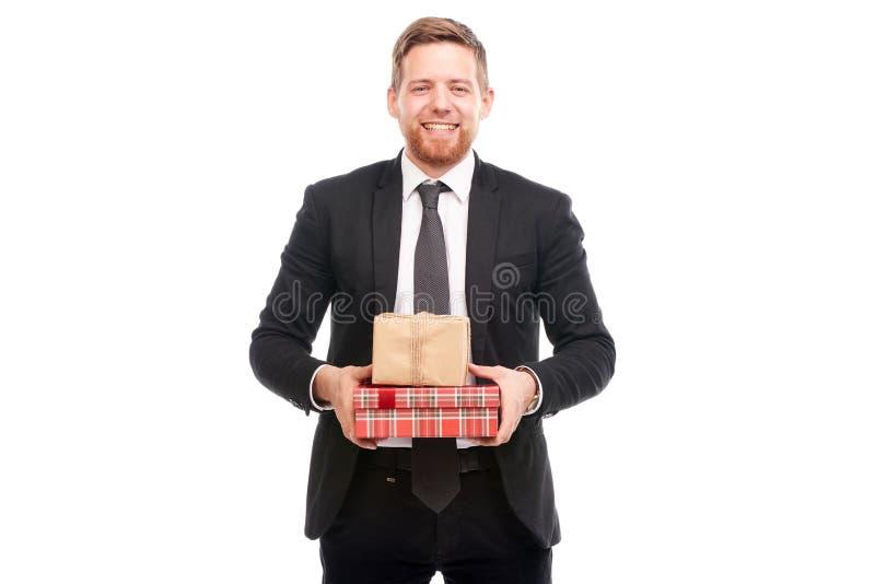 Homme d'affaires avec des cadres de cadeau photographie stock libre de droits