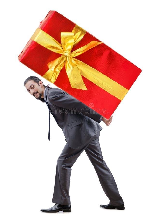 Homme d'affaires avec des cadres de cadeau photos stock