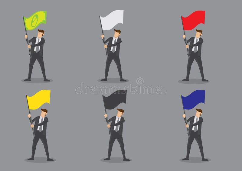 Homme d'affaires avec des caractères de vecteur de drapeaux illustration stock