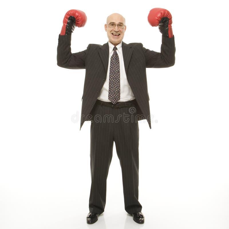 Homme d'affaires avec des gants de boxe photos stock