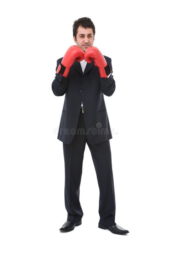 Homme d'affaires avec des gants de boxe image libre de droits