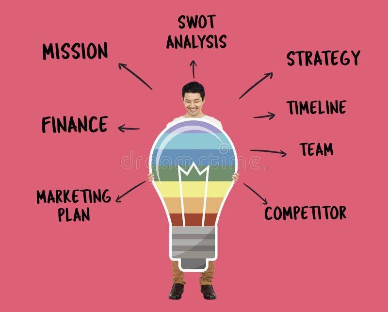 Homme d'affaires avec des idées colorées créatives illustration stock