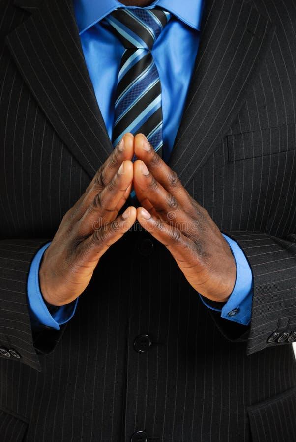 Homme d'affaires avec des mains ensemble images stock