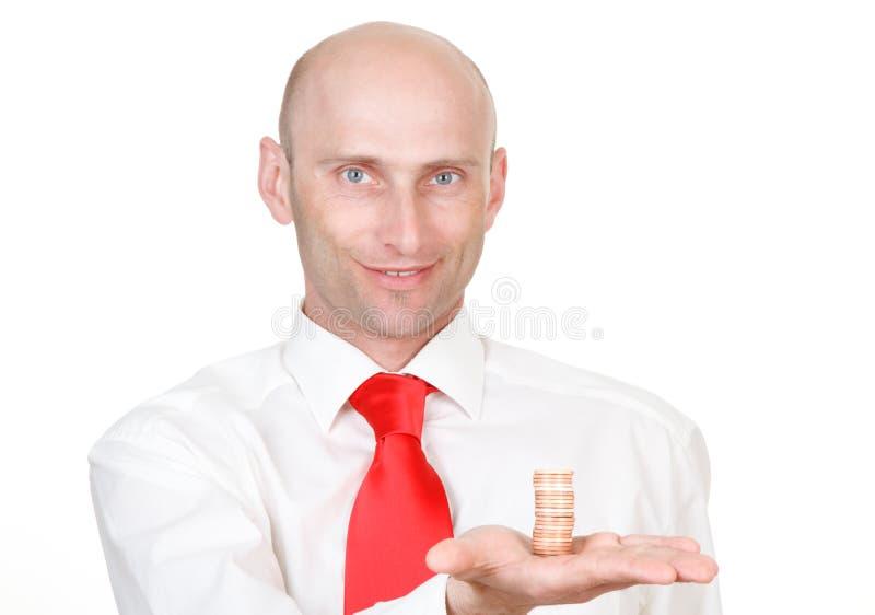 Homme d'affaires avec des pièces de monnaie photos libres de droits
