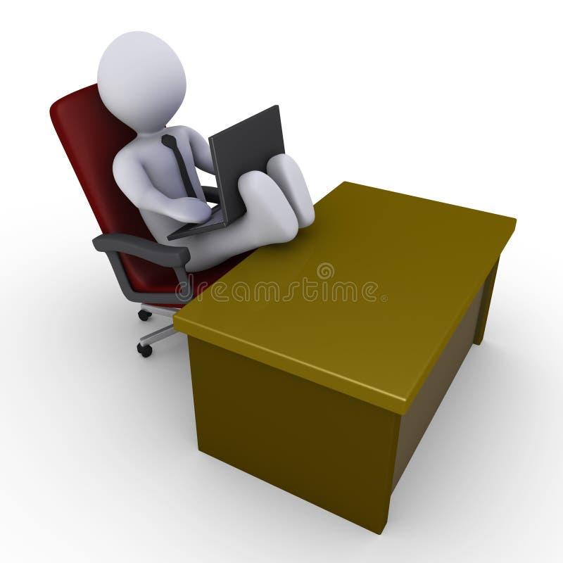 Homme d'affaires avec des pieds sur le bureau fonctionnant avec l'ordinateur portatif illustration stock