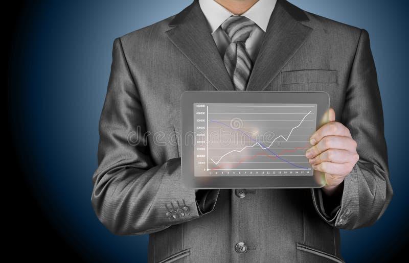Homme d'affaires avec des symboles financiers photos stock